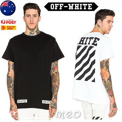 OFF WHITE C/O Virgil Abloh Cotton T-Shirt Short Sleeve TEE Striped Street Wear