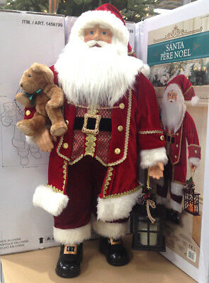 3ft Large Santa Traditional Red Velvet Fabric Father Christmas Decoration B/NEW