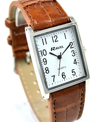 Ravel Ladies or Mens Classic Watch with Tan Strap Clear White Rectangular Dial