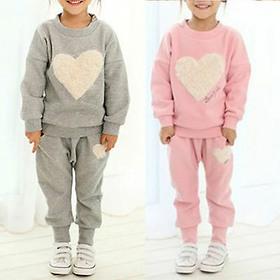 2pcs Kids Girls Sweet Heart Print Hoodie Top + Pants Outfits Set Winter Clothes