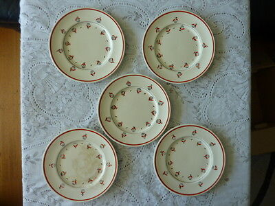MYOTT ENGLAND 23 cm ENTREE PLATE x 5 PUSSY WILLOW HANDPAINTED RED M269F 1930+