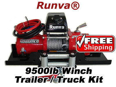 9500lb New Runva 12V Towing Recovery Electric Winch Kit W/ Short Drum *TT Kit*