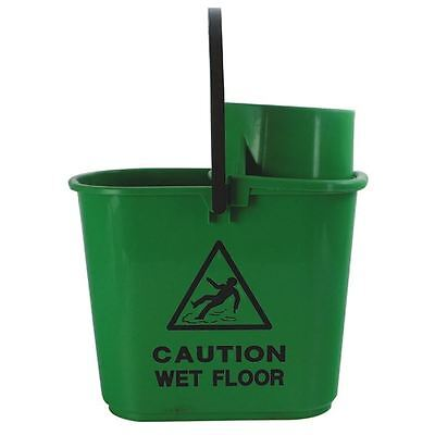 Green Plastic Mop Bucket with Wringer 15 Litre 102946GN [CNT00066]