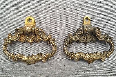 Pair of antique french door knobs knockers lot made of bronze 19th century