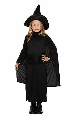 Child Witch Classic Costume With Hat Horror Outfits Halloween Dress 4-12 Yrs Hb