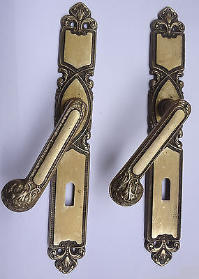 Lot 2 Original Vintage Solid Brass Door Lever Handles on  Backplates Free S/H