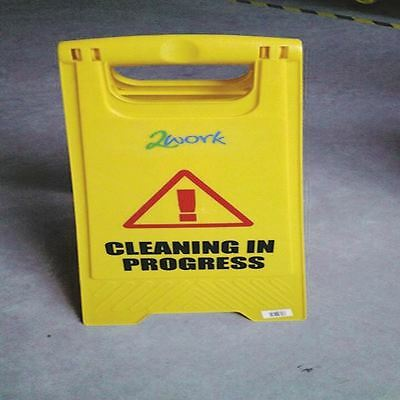 Yellow Folding Safety Sign Caution Wet Floor and Cleaning In Progress [CNT00356]