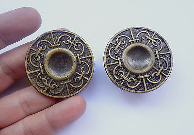 2  Vintage Solid Brass Round Pull handles 1 3/4'' for Cabinet Drawer Closet NOS