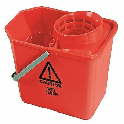Red Plastic Mop Bucket with Wringer 15 Litre 102946RD [CNT00684]