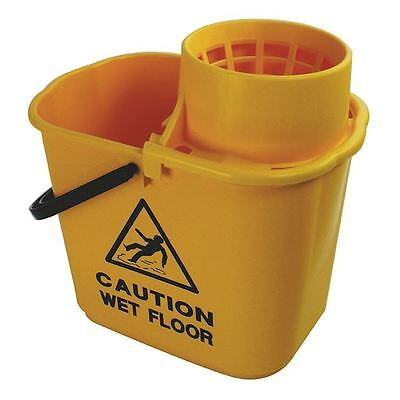 Yellow Plastic Mop Bucket with Wringer 15 Litre 102946YL [CNT00691]