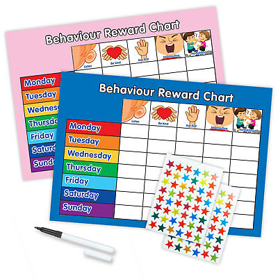 MAGNETIC BEHAVIOUR REWARD REWARD CHART x2 WITH PEN & STAR STICKERS - Pink/Blue