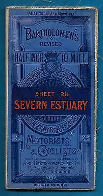 C1930'S Bartholomew's Half Inch Map Of Severn Estuary For Motorists & Cyclists