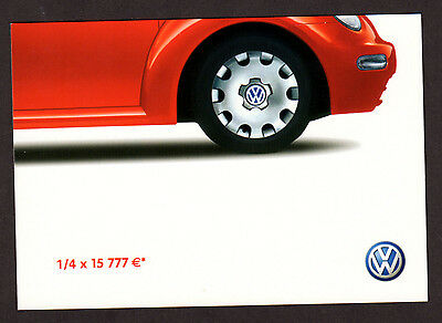2002 VOLKSWAGEN New Beetle Original french postcard - Red car photo 1/4 part