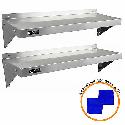2 x Commercial Catering Stainless Steel Shelves Kitchen Wall Shelf Metal 1250mm