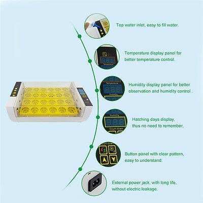 24 Eggs Hatcher Small Size Digital Clear Automatic Incubator Temperature Control