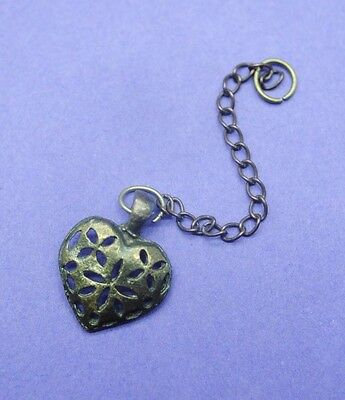 Post Medieval brass openwork heart shaped pendant with chain UK find