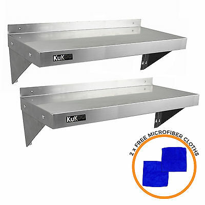 2 x Commercial Catering Stainless Steel Shelves Kitchen Wall Shelf 900 - 1940mm
