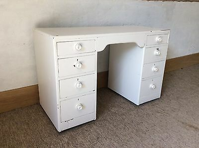 Antique, Vintage Painted Twin Pedestal Oak Desk With Key!!