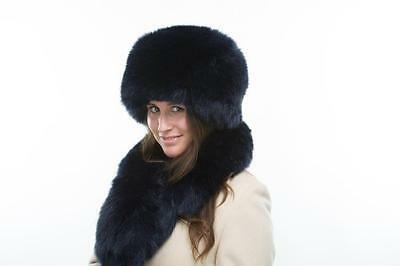 Brand New Ladies Navy Faux Fur Fashion Winter Hat Cossack And Scarf Set Moscow