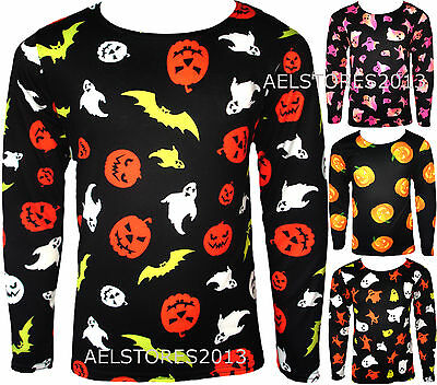 Girls Long Sleeved Halloween T-Shirt Kids New Costume Ghost Tops Ages 4-13 Years