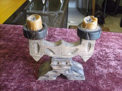 Vintage Wooden Candle Holder Alter Piece Gothic Rustic