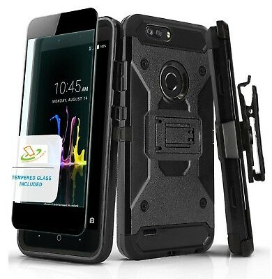 ZTE Phone Hybrid Impact Armor Rugged Rubber Hard Case Cover Holster Screen BLACK