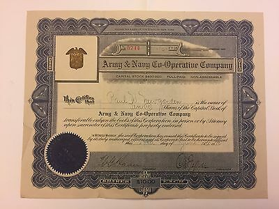 1915 Army & Navy Co. Stock Certificate Issued to Maj. Gen. Paul W. Newgarden