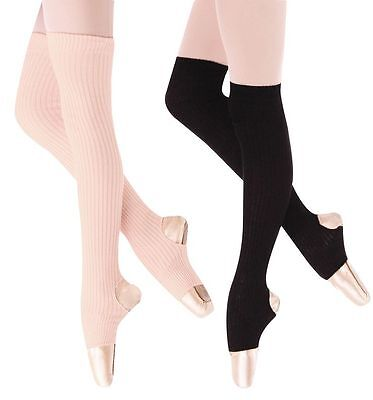 "New Body Wrappers 194 27"" Stirrup Leg warmers Black & Theatrical Pink"