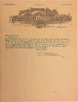1896 Johns Hopkins Oil Co. Letter Signed by Roger B. Hopkins! Baltimore, MD