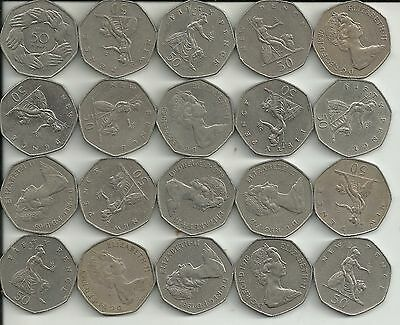 20 UK (Great Britain)  50 P COINS   LARGE COINS