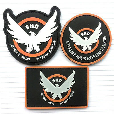 3Pcs  Cosplay Badge The Division Shd Airsoft Game 3D Pvc Morale Rubber Patchs