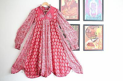 Vintage red gauze floral paisley cotton hippy indian 70s boho smock midi dress S