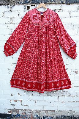 Vintage red gauze floral Phool cotton hippy indian 70s boho smock midi dress S