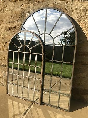 Antique Gothic Vintage Arched Window Door Metal Large Home Garden Wall Mirror