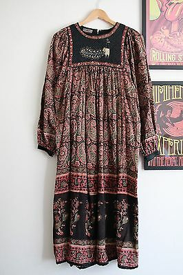 Vintage peacock floral paisley cotton hippy indian 70s boho smock midi dress S