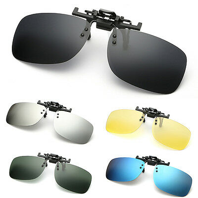 Polarized Clip On Flip Up Sunglasses Shades for Myopia Glasses Driving Men Women