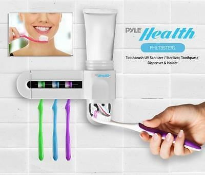 New Pyle PHLTBSTER2 Toothbrush UV Sanitizer / Sterilizer, Toothpaste Dispenser