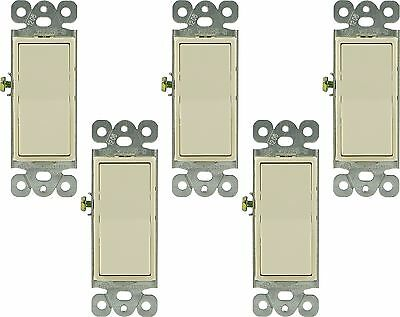 GE 18270 Decorator 15A 3 Way Switch, Light Almond, 5-Pack