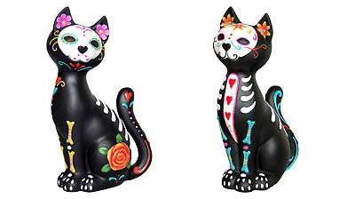 Sugar Mexican Day Of The Dead Skull Cat Art Decoration Ornament Statue Figurine