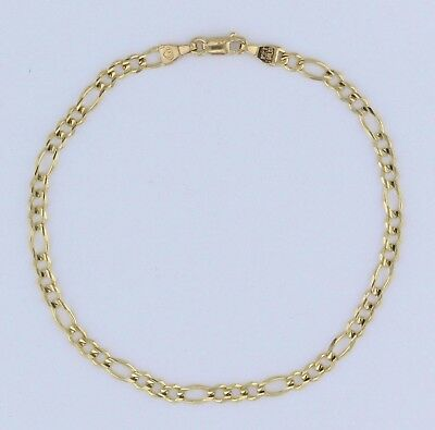 "New 10K Solid Yellow Gold 7.25"" Figaro Link Chain Bracelet 2.8 grams,3.5 mm"