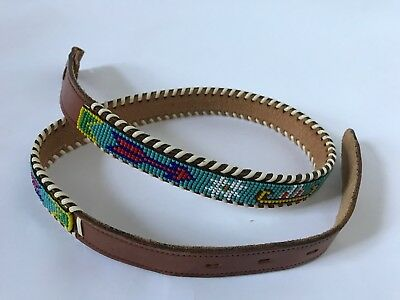 Vintage American Indian Hand Made Beaded Leather Belt - Free Shipping!