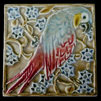 Antique ROOKWOOD TRIVET TILE with MACCAW Parrot Among Blossoms. #3077. 1920