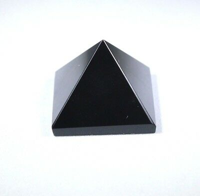 Black Obsidian Crystal Natural Stone Pyramid 20 mm Reiki Chakra Healing Meditate