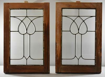 Pair of Clear and Beveled Victorian Tulip Pattern Windows