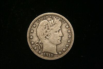1910  Barber Silver Quarter, US Coin , FINE ,  Free Shipping!