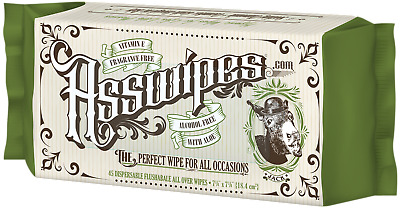ASSWIPES! Bathroom Baby Hygiene ALL OVER Flushable Wipes w/ Aloe & Vitamin E!
