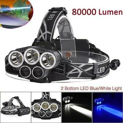80000lm 5 X XM-L T6 LED RECHARGEABLE 18650 USB Lampe Frontale Zoomable