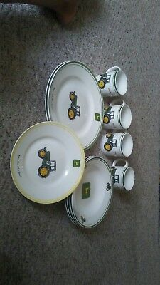 **** John Deere 11 Piece Dish Set by Gibson - Plates - Bowl - Coffee Mugs saucer