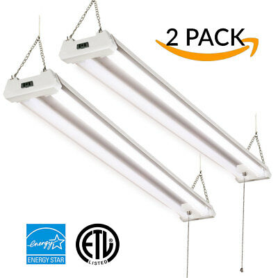 Sunco 2 PACK LED SHOP LIGHT 5000K 4ft 40W LED Utility Double Integrated Ceiling