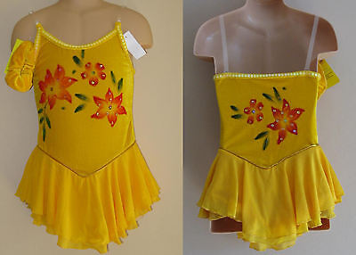 NWT 8-9y CHILD Ice Roller Skating Dress Yellow Majorette Dance Costume Leotard